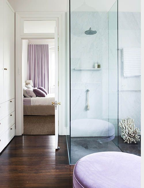 RANDWICK HOUSE | alwill  #ensuite #bedroom #woodenfloor #shower #curtains