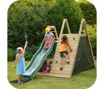 PLUM® CLIMBING PYRAMID WOODEN CLIMBING FRAME OUTDOOR PLAY CENTRE WITH PLAY DEN AND SLIDE