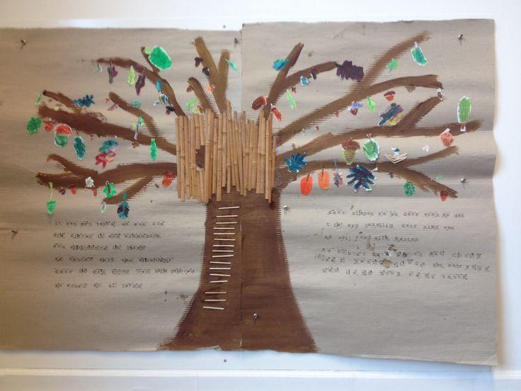 Tante en oom in Laren. Met de klas een boom schilderen en ieder kind een blaadje laten maken met wasco. Deze op de boom plakken en het gedicht van Annie M. G. Schmidt er onder stempelen