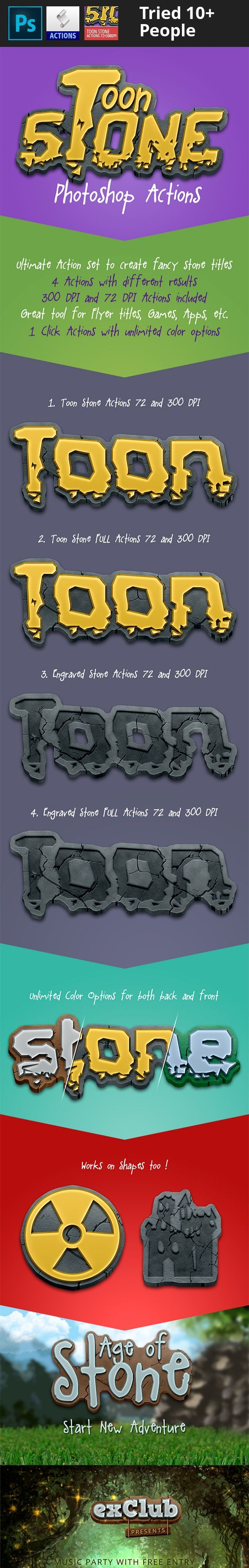actions, app, cartoon, cartoon text, game, medievil, mobile, photoshop, stone, Stone Age, stone effect, text effect, toon Toon Stone Actions – 72 + 300 DPI   Great Tool for Flyer Titles, Games, Apps and other advertising projects.     Toon Stone Actions – Features    4 Actions with different results Each action has two variants for 72 and 300 DPI documents 1 click fast actions Works with many fonts in different font size and also with shapes Infinite color possibilities with color over...