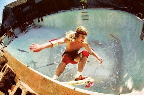 """""""Z-Boys"""" pro skateboarder Stacy Peralta.  The photo above shows Stacy shredding an empty pool, one of many they skated throughout Venice and beyond, in his Katin cords."""