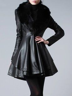 Plain Fur Collar Fascinating Imitation Leather Overcoats