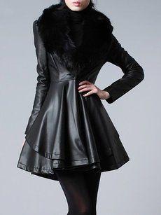 Plain Fur Collar Fascinating Imitation Leather Overcoats