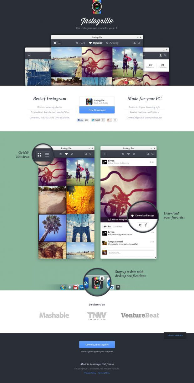 Instagrille - Instagram for your computer - Best website, web design inspiration showcase - www.niceoneilike.com
