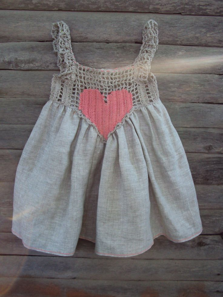 "baby dress from flax: ""Heart""/baby linen/ baby / toddler/girl sundress/crochet baby linen dress/rustic baby sundress. $35.00, via Etsy."