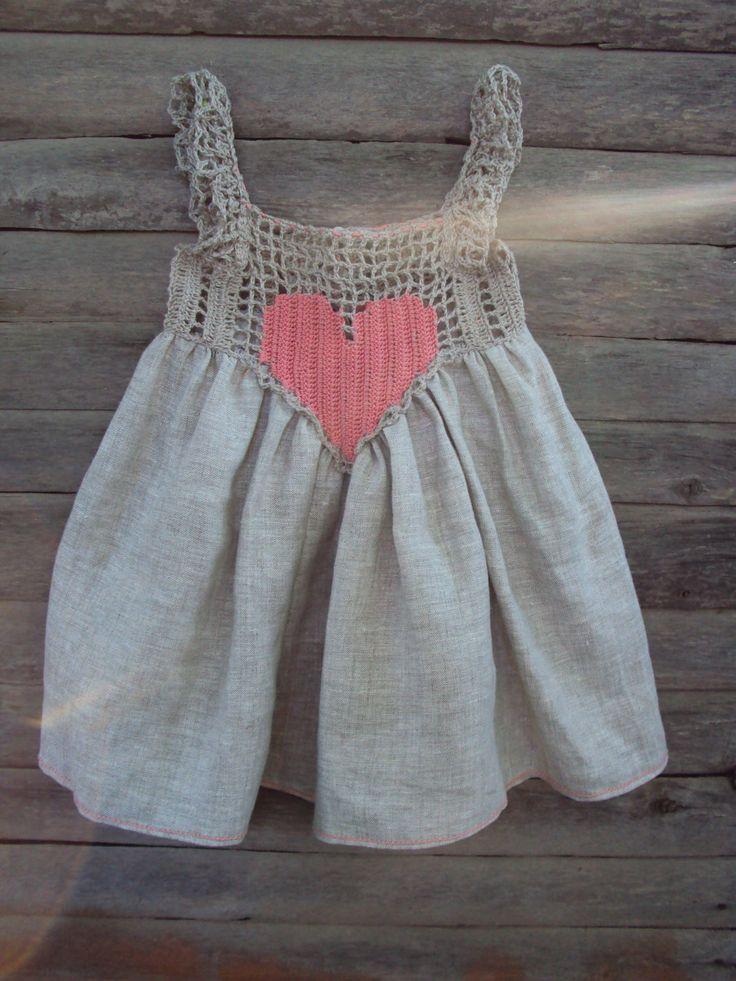 "baby dress from flax: ""Heart""/baby linen/ baby / toddler/girl sundress/crochet baby linen dress/rustic baby sundress. $35.00, via Etsy."
