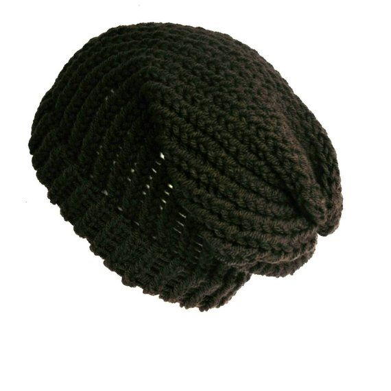497fda5fa Dark brown slouchy beanie, loose knit slouch hat handmade with soft ...