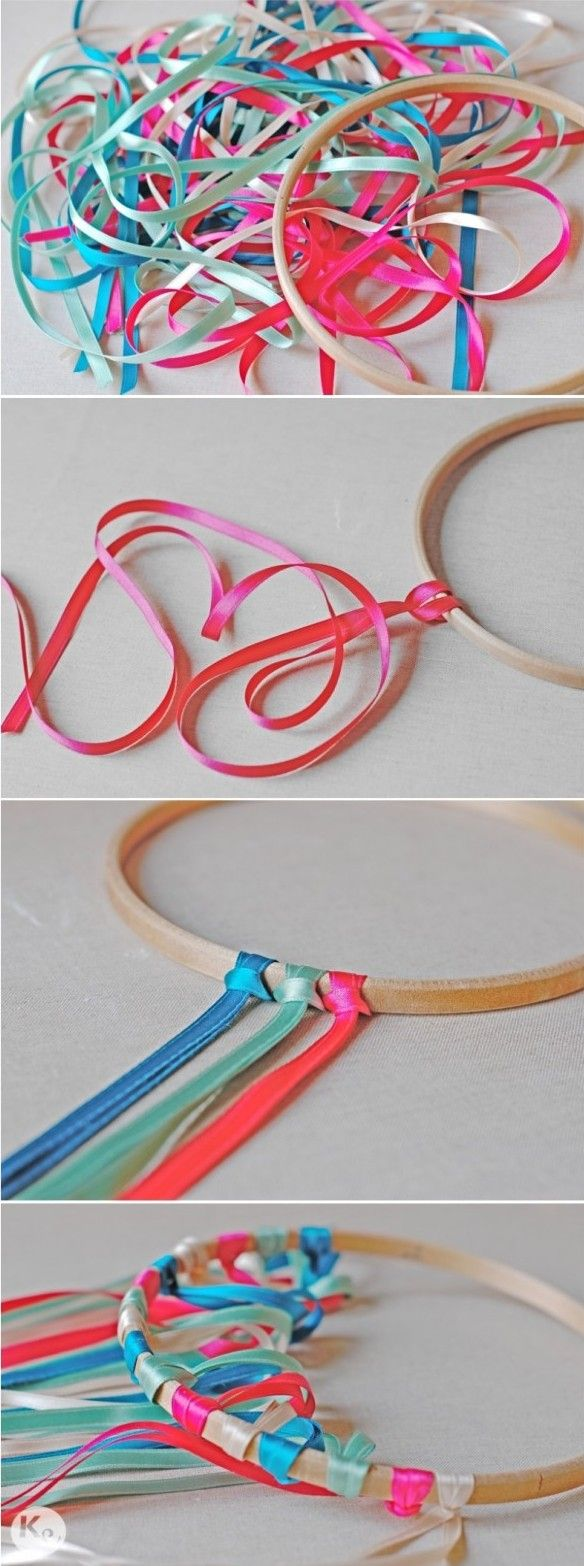 Colour-DIY. Ribbon chandelier #embroidery #hoop