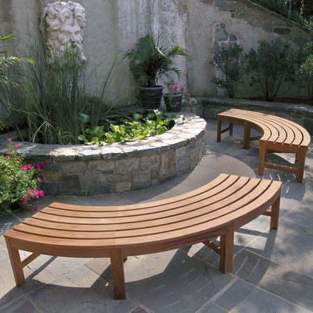 curved benches, maybe a bit smaller, for around the fire pit