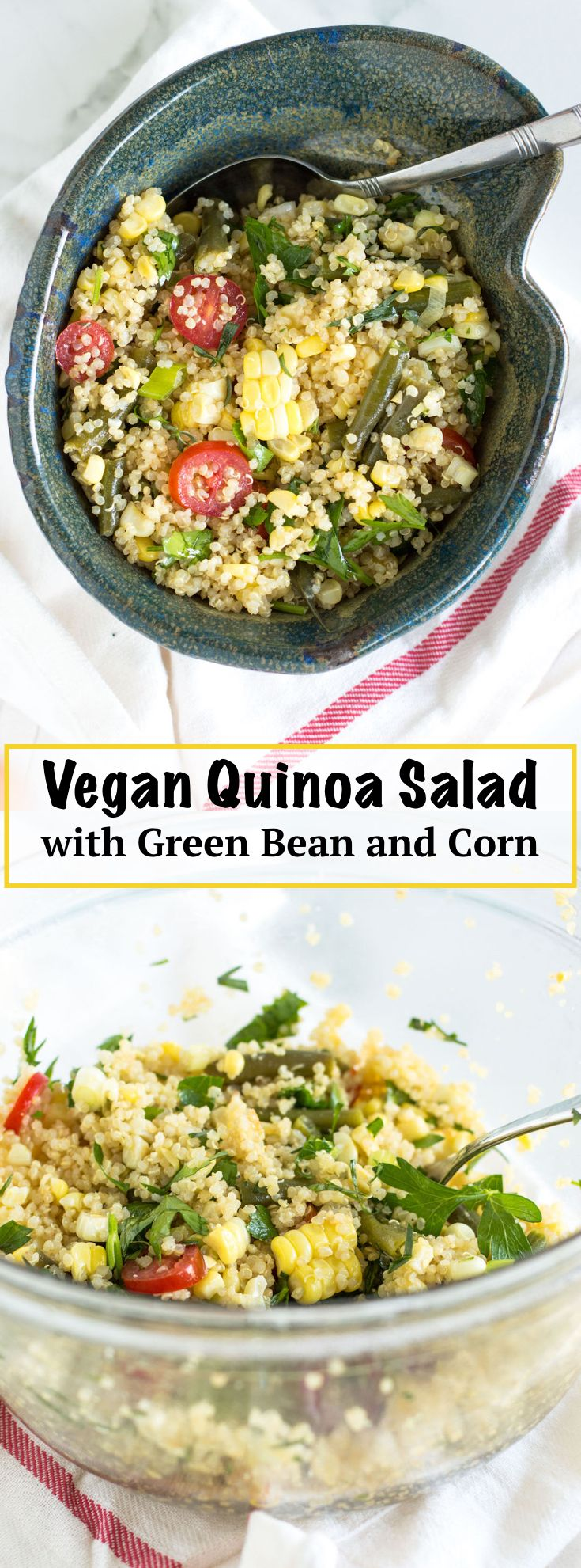 Summery Vegan Quinoa Salad with Green Beans and Corn