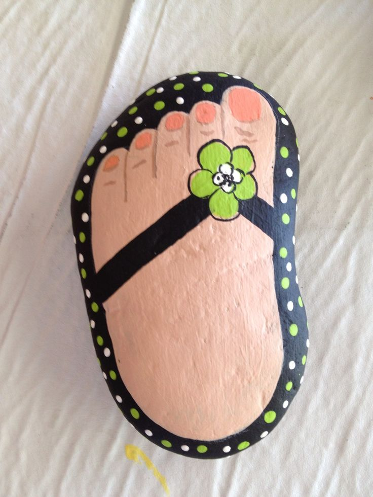 Painted Stone - Foot with flip flop  This gives me the idea to do this on stepping stones already laid out in a pathway!