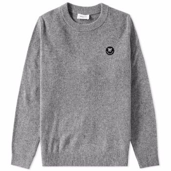 Wood Wood Grey Yale Sweater : Grey Yale sweater by Wood Wood. This wooly jumper is great for colder months, whilst nodding towards the Ivy League with the ribbed hem and cuffs.