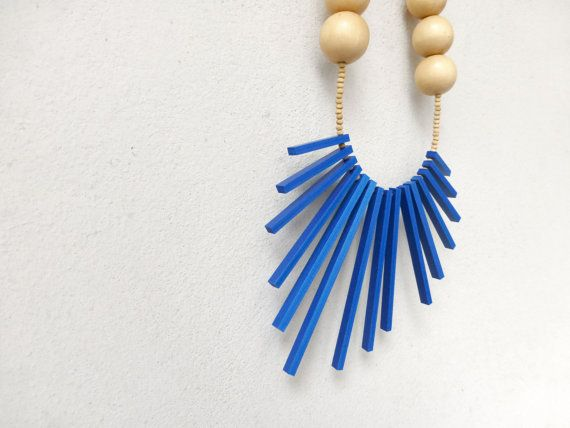 blue and wood tribal necklace  geometric contemporary jewelry
