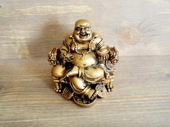 Vintage Smiling Buddha Figure Resin Buddha Figure Golden