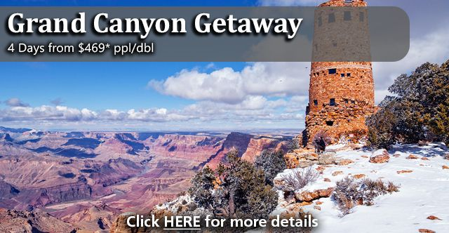 Package includes:  2 nights hotel accommodations at the Grand Canyon Railway Hotel in Williams, Arizona 1 night hotel accommodations in the South Rim of the Grand Canyon Roundtrip Grand Canyon Railway to the Grand Canyon Motorcoach Rim Tour of the Grand Canyon including lunch 3 meals included From $469 per person
