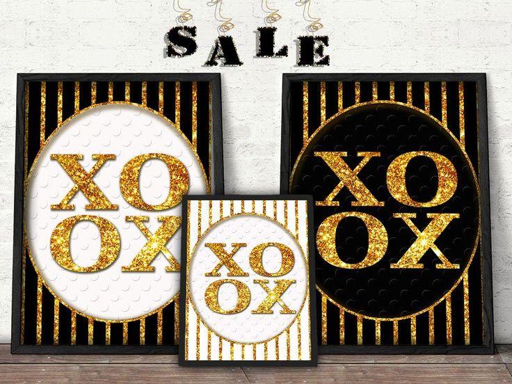 Gold, black and white XOXO Print