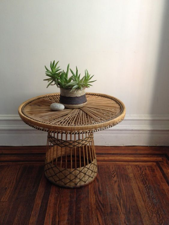 Vintage Wicker Rattan Side Table —