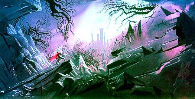 Prince Phillip approaches King Stefan's castle now surrounded by a forest of thorns ~ Eyvind Earle ~ Sleeping Beauty