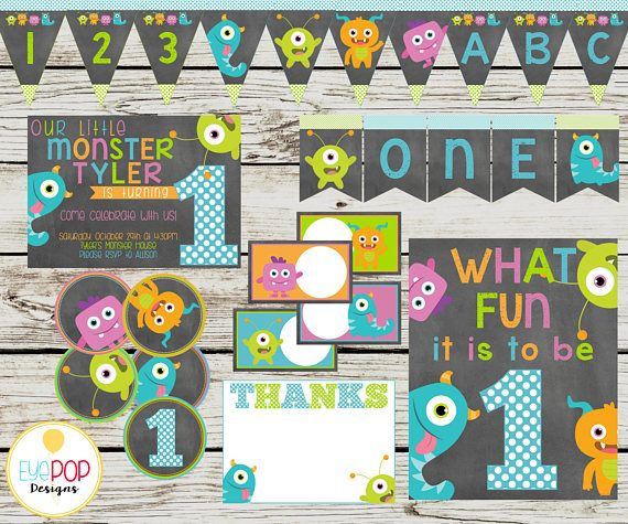 LITTLE MONSTER Party Printable Package, Birthday, Little Monster Birthday, Party Decorations, Chalkboard, Printables, Invitation + More!