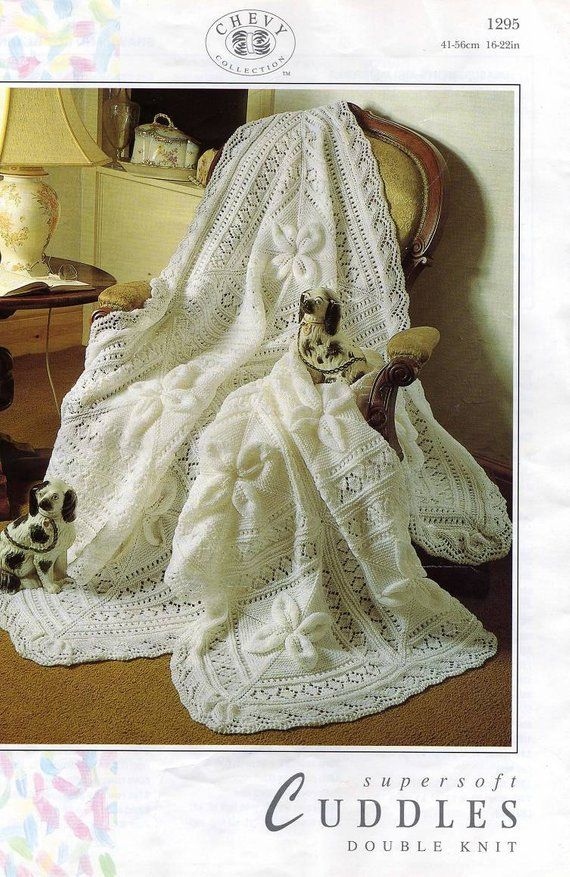 787e52ad4 vintage knit pattern beautiful baby shawl and cot blanket size ...