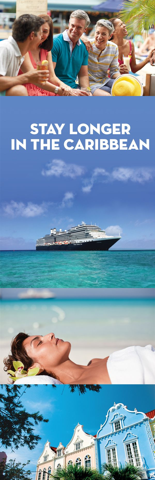 Whether 10 days or 3 weeks—your Caribbean travel plans start here. Our longer cruises take you on a relaxing (or adventurous!) journey through the Caribbean, gliding in classic style from port to port. Enjoy beaches, rainforests, and cool ocean breeze on shore and the comfort of delectable dishes, relaxing spas, and lively music on board—only on Holland America Line.
