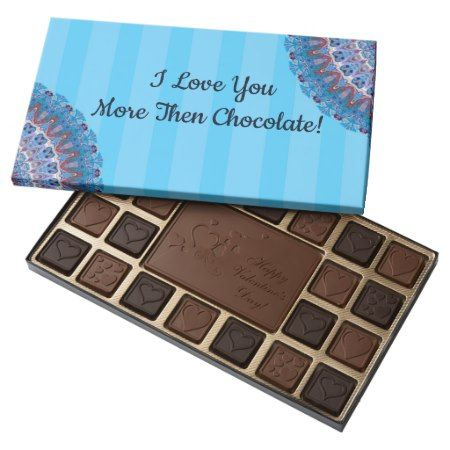 Valentine's Day Blue Chocolate Gift Box Custom - click/tap to personalize and buy