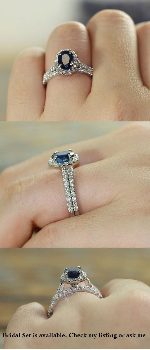 Natural Blue Sapphire Engagement Ring Halo Diamond Ring in 14k White Gold 8x6mm…
