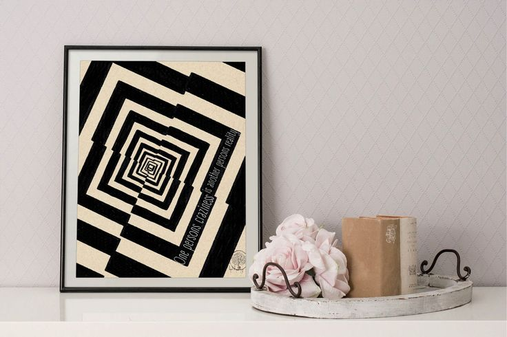 One persons craziness is another persons reality quote home decor, Tim Burton quote print, famous quote wall art, abstract geometric decor by Lepetitchaperon on Etsy