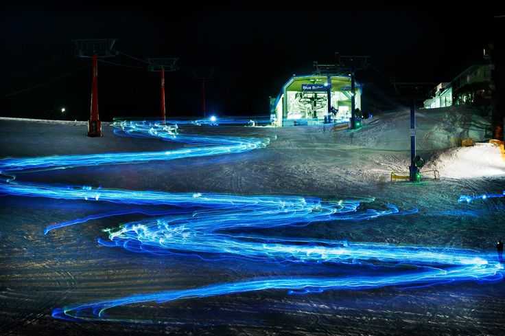 Snow lights at night.  Lantern run at Mt Buller in Victoria, Australia #snowaus