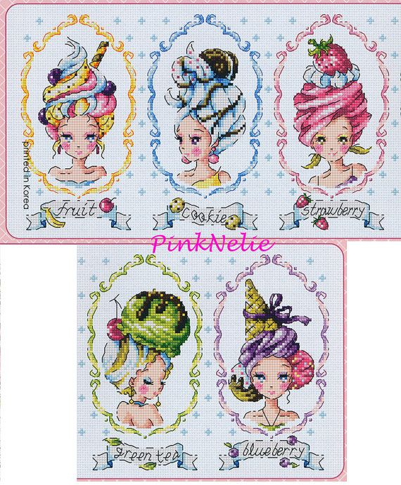 Ice Cream Ladies G76 Counted Cross Stitch Original by PinkNelie (Craft Supplies & Tools, Patterns & Tutorials, craft, sewing, fabric, cotton, linen, cross stitch, counted, soda, hk, chart, girl, ice cream)