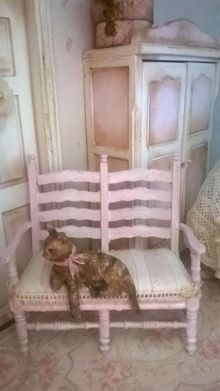 Miniature Dollhouse - BENCH Shabby Chic Style - PANCHINA Shabby Chic di…