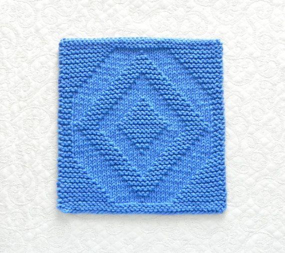 DIAMOND Quilt Block Knit Dishcloth. Blue Hand by AuntSusansCloset, $7.00