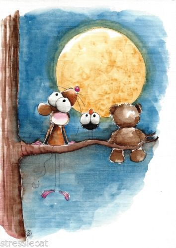Original Watercolor Folk Art Whimsical Illustration Mouse Teddy Bear Fullmoon | eBay