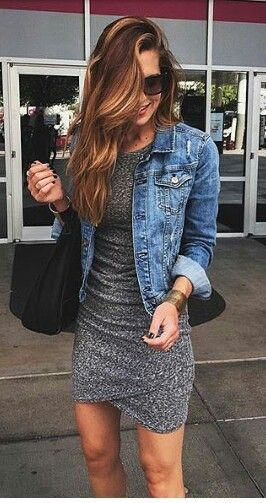 Gray dress, Jean jacket