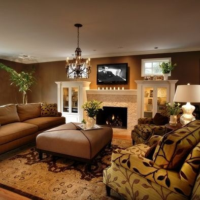 58 best brown couch images on pinterest interior for Traditional great room designs