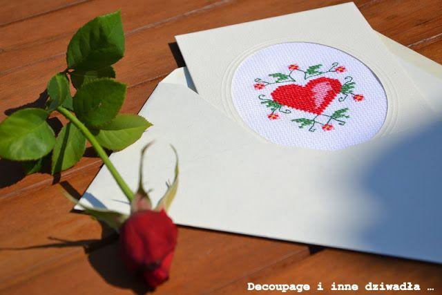 decoupage i inne dziwadła ...: Haftowana kartka ślubna z życzeniami