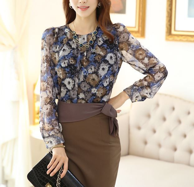 StyleOnMe_Women's Feminine Dot Printing Blouse_Brown_Made in Korea #StyleOnMe #Blouse #Career www.styleonme.com www.facebook.com/styleonmeEn