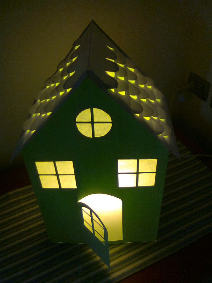 House, paper-cut lamp. Handmade by me. Claudia Polliotti