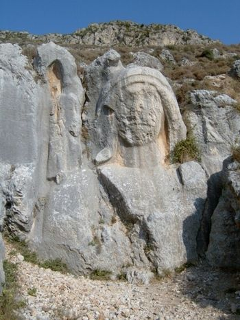 The Charonion is an ancient carved stone bust in the mountainside above Antioch. It dates from the time of King Antiochus in the Seleucid era (3rd century BC).