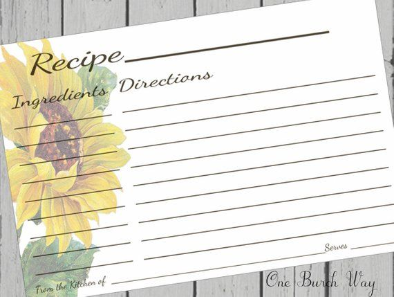 Sunflower Recipe Card 4x6 Printable Recipe Card 3 5x5 3x5