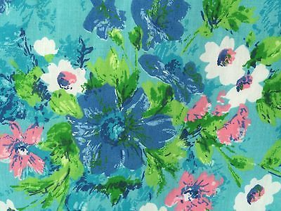a vintage fieldcrest full fitted sheet in a super smooth and soft percalethis sheet features a beautifully bold floral print on a lovely turquoise blue