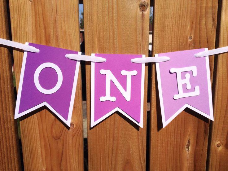 custom purple ombre 'ONE' high chair banner, birthday banner, happy birthday…