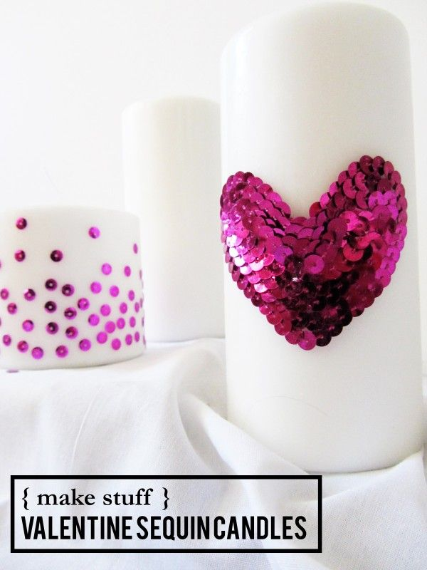 DIY Valentines Day Sequin Candles