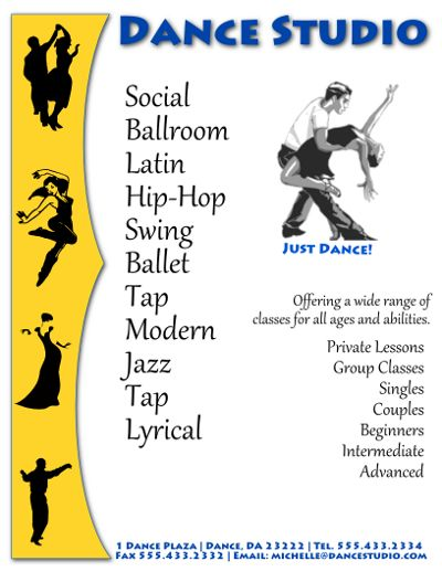 Beautiful Free Dance Studio Flyer Template