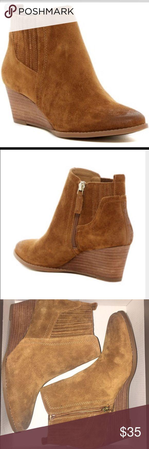 Franco Sarto brown wedge booties Cognac suede wedge bootie Franco Sarto Shoes Ankle Boots & Booties