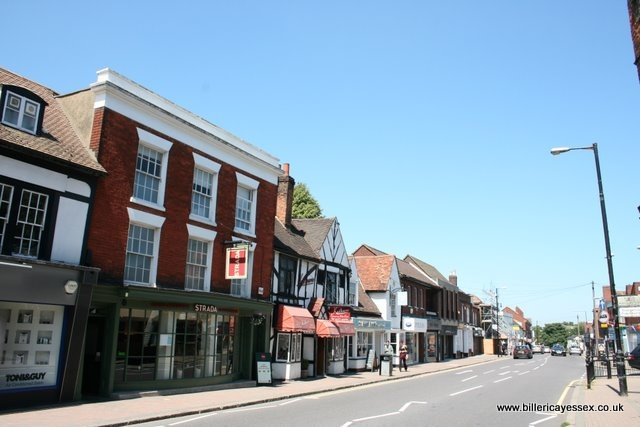 Billericay High Street in Essex on a bright sunny day.