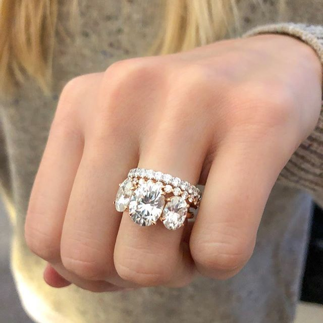 No Engagement Ring Is Too Big For A Couple Stunning Stackers Or Wedding Bands Need Yours D Stylish Engagement Rings Wedding Ring Sets Wedding Ring Designs