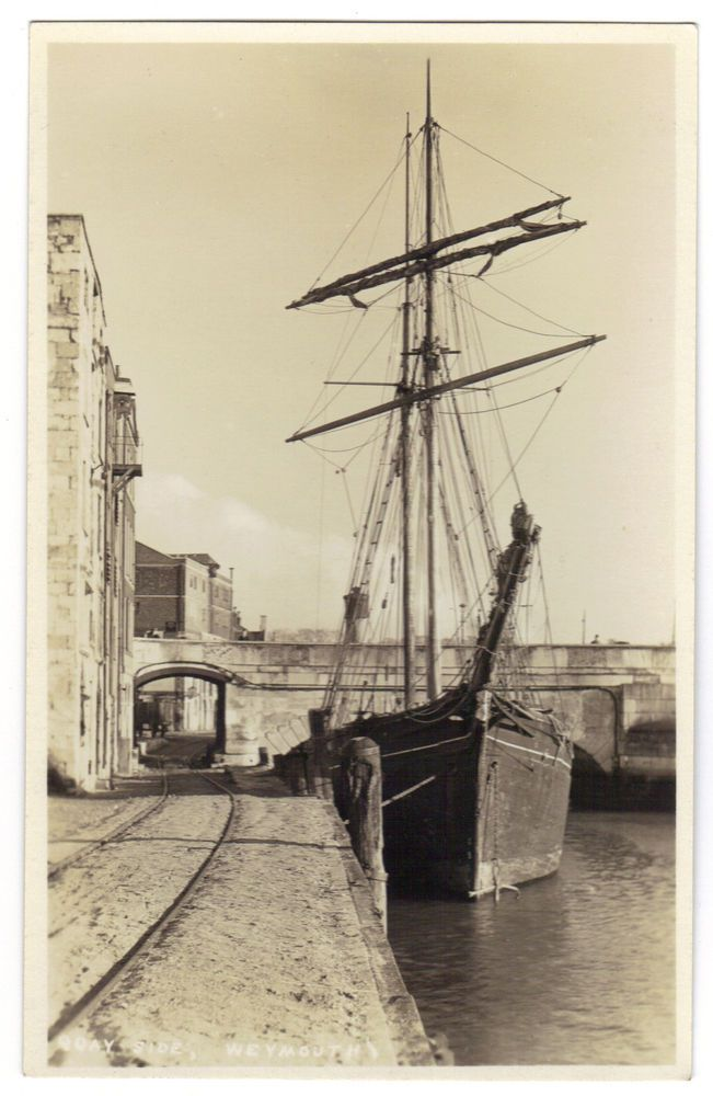 Weymouth Dorset c1920s RPPC: The Quayside Weymouth: Old Sail Ship, Arch, Rails