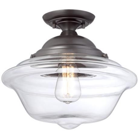 Oooh, love the clear glass shade on this school house light.  Very elegant.  From Lamps Plus.