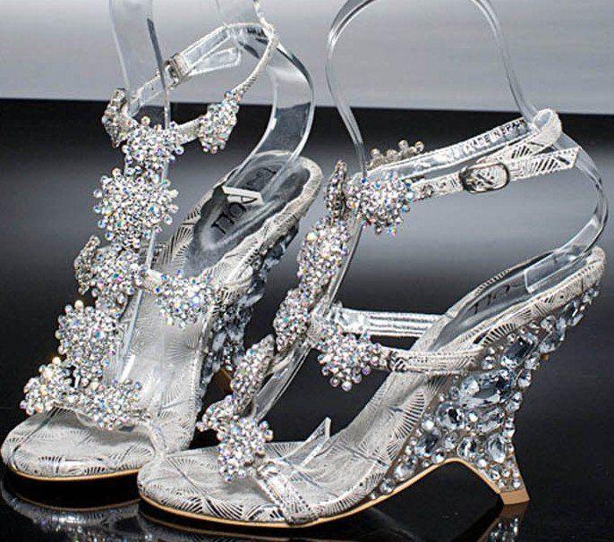 Womens Sexy Elegant Rhinestone Ankle Strap Wedge High Heel Sandals Wedding Party Designer Shoes Freeshipping Size